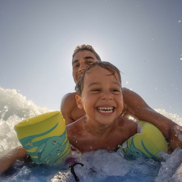 Photo of the Day! Noah's first bodyboard ride. Photo by @salomonmoore. #GoPro #bodyboard  Share your family photos with us! Click the link in our profile to submit.