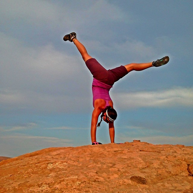 Handstands are the @moab30dyc 30 Day Yoga Challenge pose for day 27 and my favorite pose of all time!! Time to flip your perspective and see life from a different point of view. #30dycmoab  PC: @natgeo photo shoot for @nokia lumia phone with...