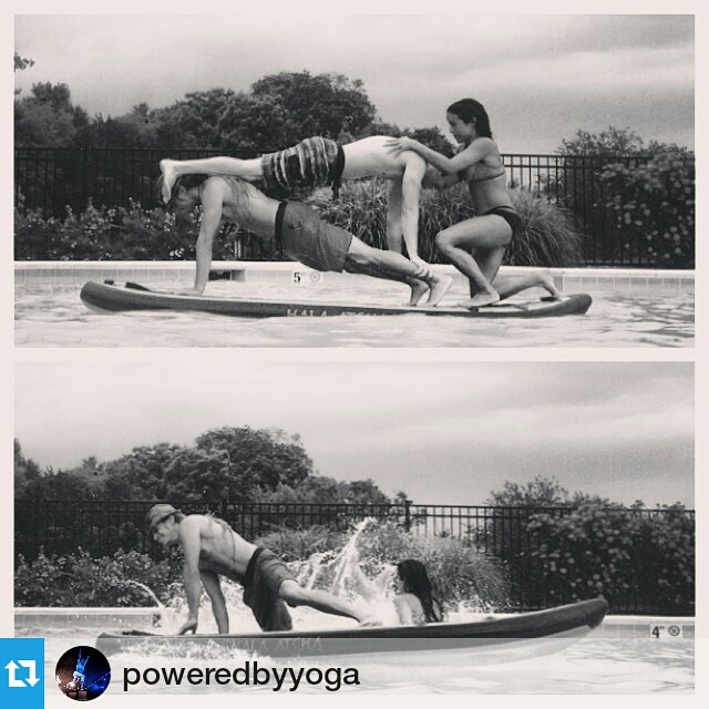 #Repost from @poweredbyyoga ・・・ #TripleThreatYogis  #PeaceLoveCar Edition  Plank Pose. We decided to stack it high!  A work in progress... The best part of SUP acro is falling!  Happy summer everyone!  #YogaSlackers #prAna  #Acro #Yoga #Play #HalaGear...