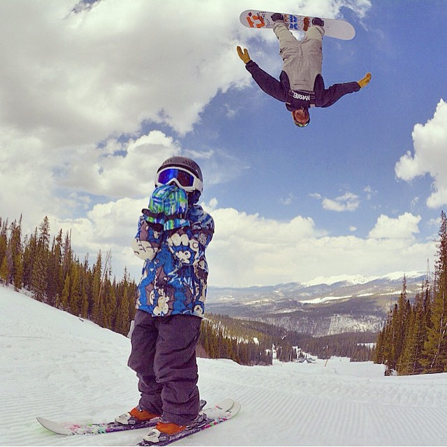 Backflips for birthday @skoobacheewa over @wpsnowbum 's son on his birthday @winterparkresort  Colorado has been having a great spring. #forridersbyriders #handmadelaketahoe #weareok