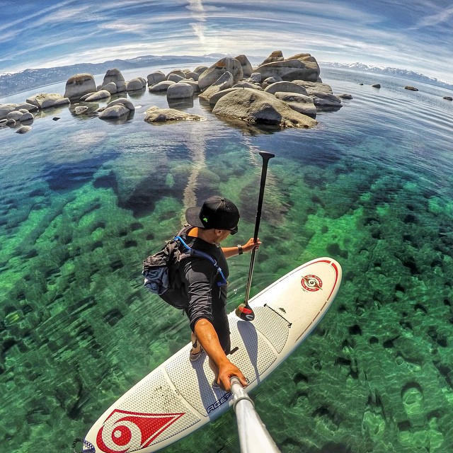 The view from Kings Beach, North Lake Tahoe while stand up paddleboarding. Photo: @thegood_life_ GoPro HERO4 | GoPole Reach #gopro #gopole #gopolereach #sup #laketahoe