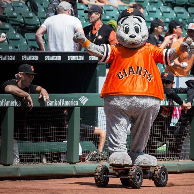 Check out Giants' mascot @louseal01 riding a custom off-road #ZBoard!