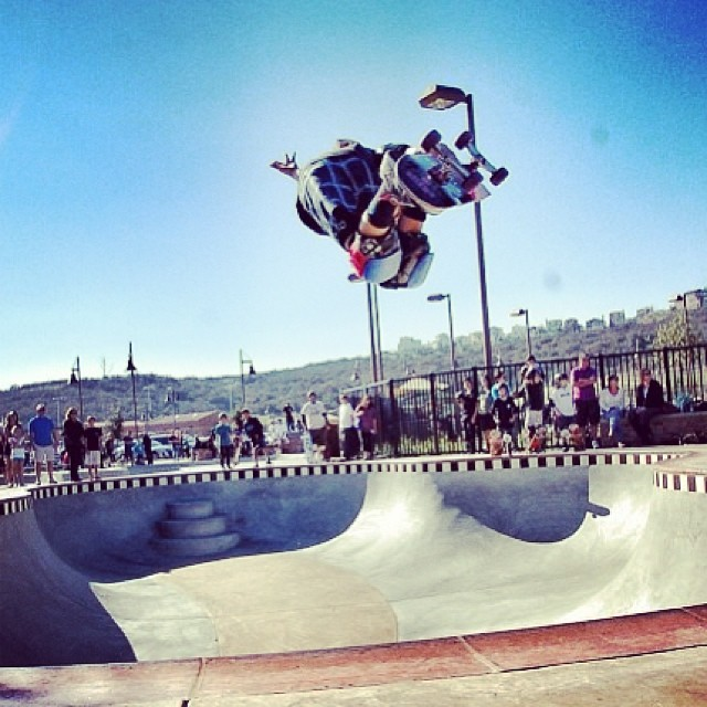 @rylanmancilla at the opening of the #carlsbadskatepark #alganorteskatepark the #sKatepark is #officially open #skateboarding #2014 #concretedreAms #backsideair