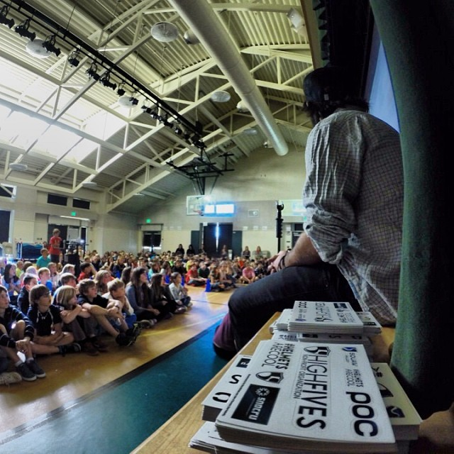 @selfiestevewallace watching on at Bel Air Elementary school for a #helmetsarecool presentation | @gopro #goproapp #hero3plus
