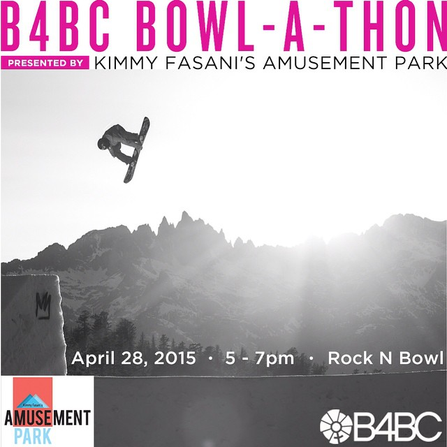 TONIGHT! As part of #TeamB4BC rider @KimmyFasani's @amusement_park at @mammothmountain, Kimmy will be hosting a B4BC Bowl-A-Thon fundraising event at Mammoth Rock 'n' Bowl from 5-7pm!! Come join the pro snowboarders who are participating in Amusement...