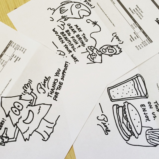 Before a web order leaves our shop we take the time to hand illustrate the packing slip. If you have a request for yours add it in the comment box! // #pinebrand #everydayequipment