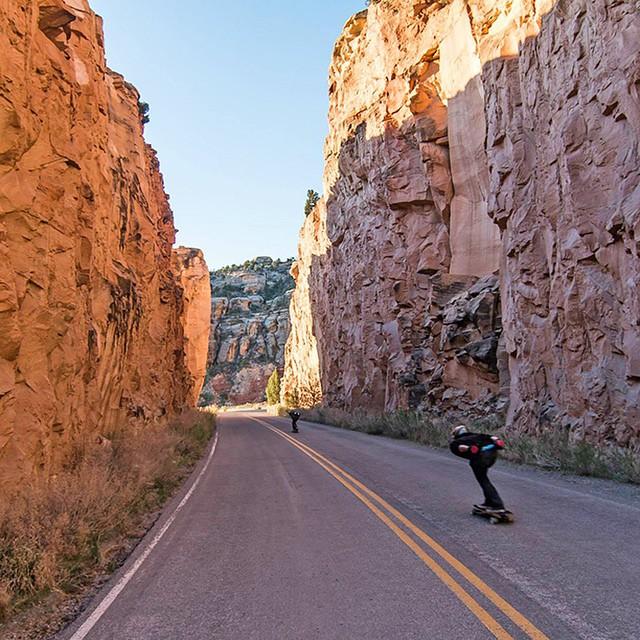 @garrett_creamer and Aaron Hampshire on a run through Colorado.