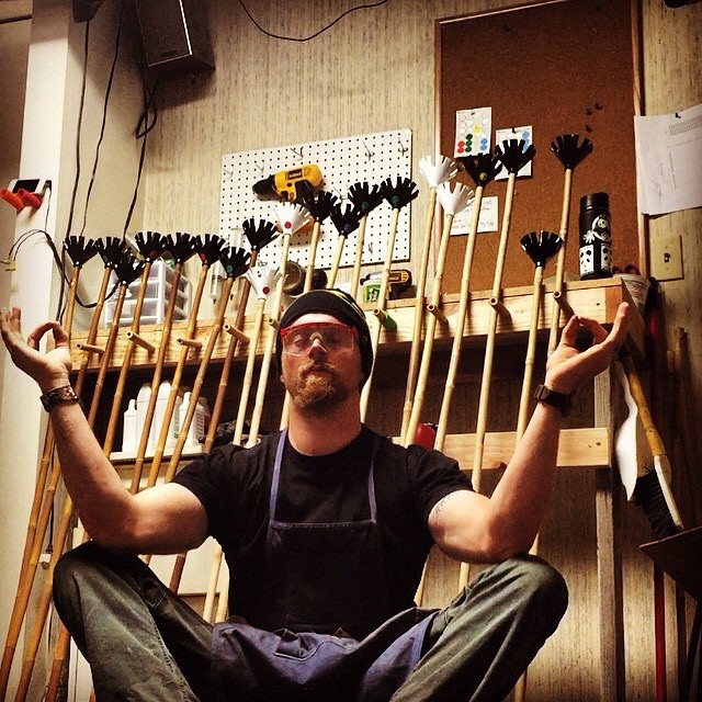 To clear one's mind creates only the opportunity for love to flow... Drew McConnell finds his zen, only just earlier today, while hand-crafting Magic Ski Wands in the Panda Dojo... Repost from @macdeisul  #HandCrafted #MagicSkiWands #Panda_Dojo #TribeUP!
