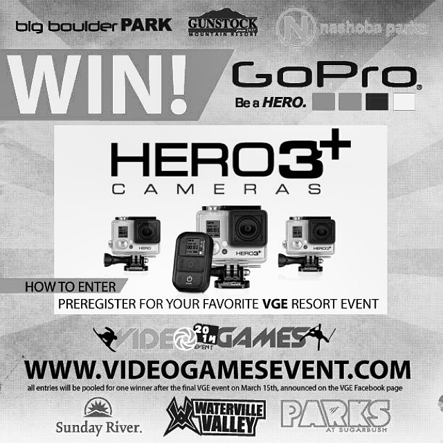 Win a gopro hd3 from @videogamesevent by preregistering or liking their fbook page. @bigboulderpark @gunstockmtn @nashobaparks @skinashoba @sundayriver @waterville_valley @wvparks @sugarbush_vt @sugarbushparks @thereelmutty @joshcampbellphoto...