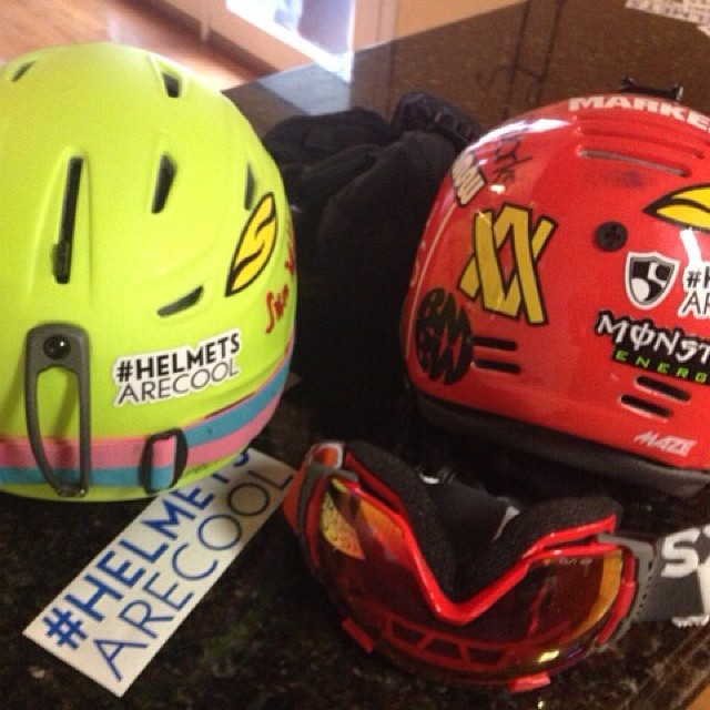 "Stickers are rad and #HelmetsAreCool | Want your own sticker pack for your helmet? Head to (highfivesfoundation.org/stickers) where a $10 donation will get you a 4x6"" pack! Thank you @squawvalley 