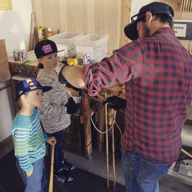Current groms and future rippers getting some #bambooskipoles knowledge from @russtc // #buildyourown #qualityshafts