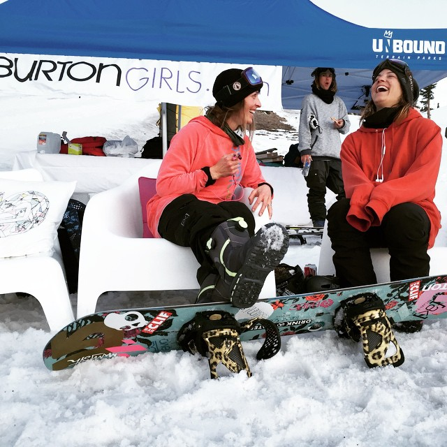 #TeamB4BC riders @kimmyfasani and @elenahight posting up at the @burtongirls tent at @mammothmountain after a great night at the B4BC Bowl-A-Thon fundraiser!  Stay tuned for a recap of the event coming soon... #behealthygetactive #burtongirls ...