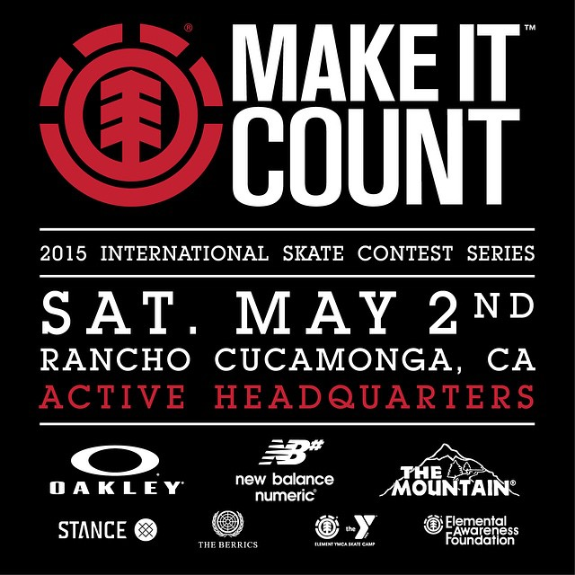 This Saturday May 2nd come out to the @elementmakeitcount stop at @activerideshop for a chance to win the experience of a lifetime: A trip to The @berrics, @elementskatecamp, @nyjah's park, and a shot at #ElementSponsorship. #elementmakeitcount