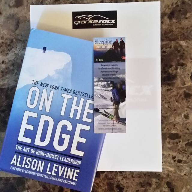 Super excited to get into our new #book, On the Edge, by Alison Levine!  We also have our #bookmark from @drjonkedski !  Prayers to all in #Nepal and #Everest
