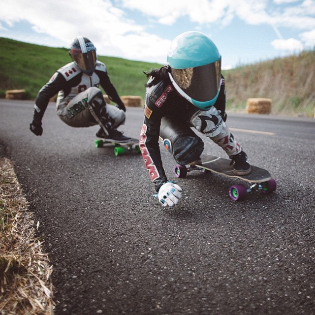 Power couple @cocomarii & @mikefitter last weekend during Maryhill's Spring Freeride. Love!! @carlkevinton photo  #longboardgirlscrew #womensupportingwomen #womensupportingcouples #girlswhoshred #maryhill #marisanuñez #love