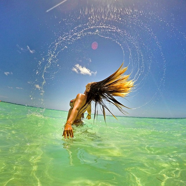 Hair flip in the Caribbean! Captured on GoPro HERO4 in Photo Burst Mode 30fps and GoPole Evo. Photo: @4daocean #gopro #gopole #gopoleevo #caribbean