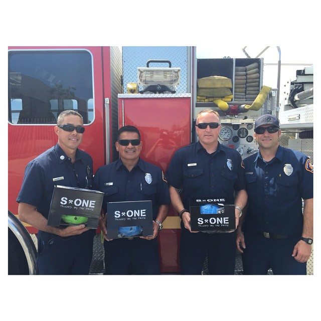 Some local firefighters stopped by to pick up some S1 Mini Lifer Helmets for their kids. #s1helmets #trustedbythepros #liferhelmet #miniliferhelmet