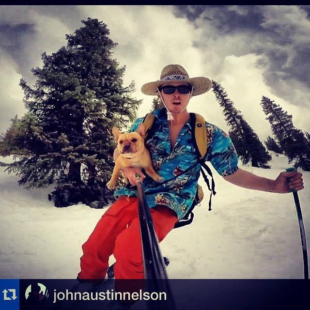 """Folsom skier Austin Nelson taking the dog for a run - this guy knows how to """"spring-ski""""  #Repost @johnaustinnelson with @repostapp.・・・Lifts closed here @aspensnowmass and Pig's #notoverit  #stokedagirlsontheway  @oakleyskiing @surefootskiing ..."""
