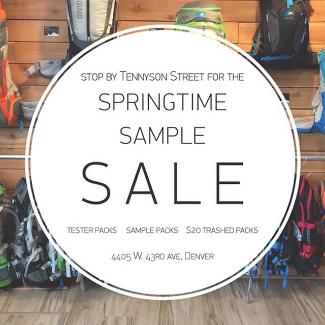 If you're in the Denver, stop by our Springtime Sample Sale as we have a whole slew of packs that we just don't have room for anymore! 4405 W. 43rd Ave (Tennyson) We'll also be grilling and enjoying spirits from 5-8! #samplesale #freebeer