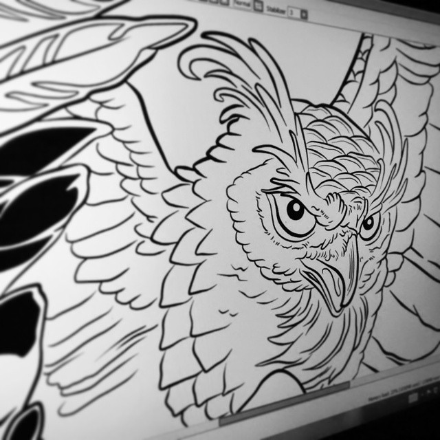 #owl #workinprocess #tshirts  #illustration  #miumtoys