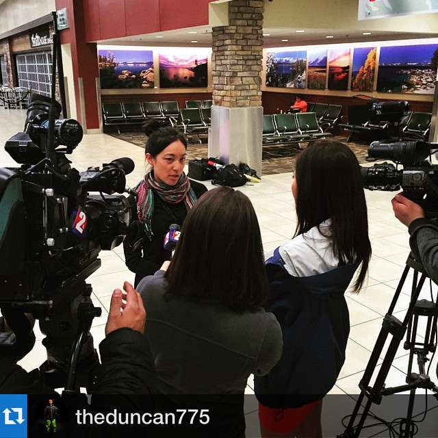 "@mellee07 is now home safe - #Regram f/ @theduncan775: ""Reno news crews were at the airport to get the scoop from @tusker guide #MelLee about what went down in Nepal on the trek to and from #everestbasecamp. Heart felt sorrow to the families and people..."
