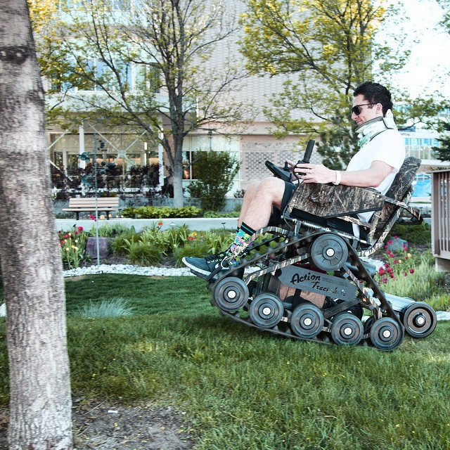 #HighFivesAthlete trying out the ActionTrack Off-Road chair at #CraigHospital. Get outside and have some fun this weekend!