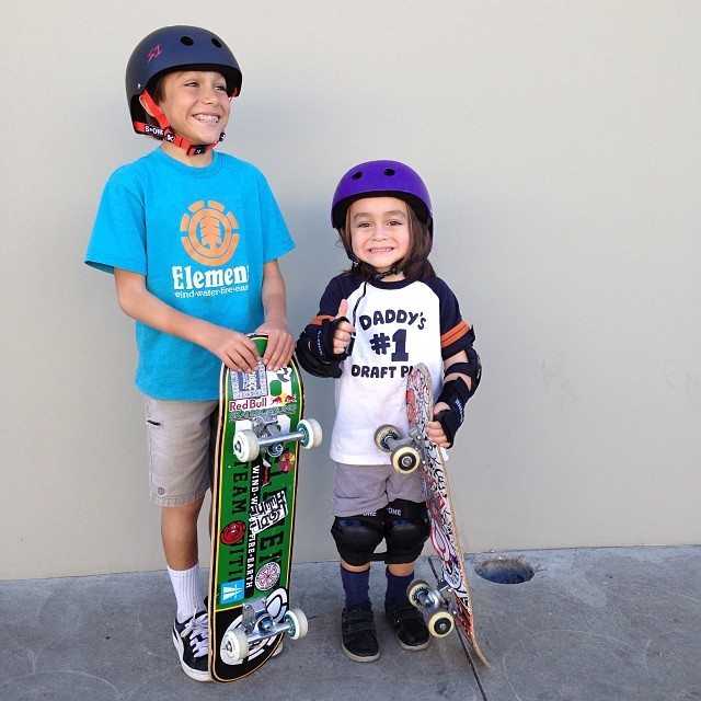 @asher_bradshaw and his little bro Aaron stopped by to pick up some fresh #s1helmets they are headed to #rowley #skateplaza . #skateboarding