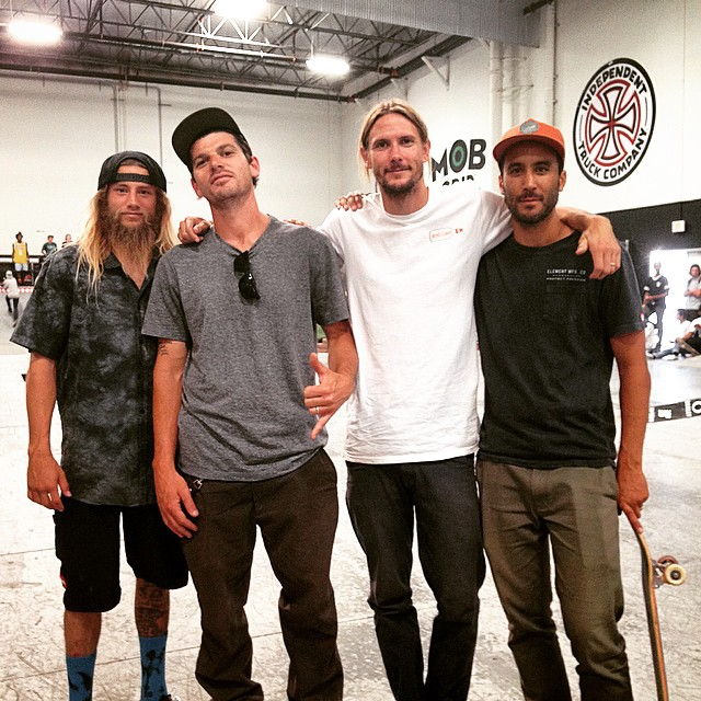 The #elementmakeitcount judges are tough out here at @activerideshop! @greyson_fletcher @mark_appleyard @_levibrown @7im7im throwing out good vibes and seeing some insane skating in return