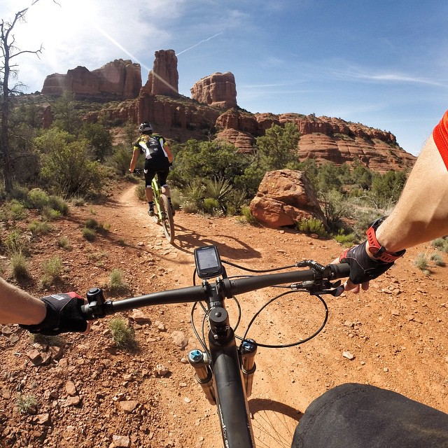 Photo of the Day! @christianschauf and @jenfletchtri enjoy a ride out to Cathedral Rock in Arizona. Share your awesome photos with us by clicking the link in our profile. #gopro #mountainbike