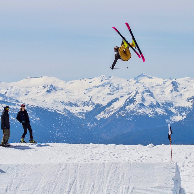 Most people have stored away their skis and snowboards for the season, but @anna_segal is still getting after it in @whistlerblackcomb's spring park. #girlswhoshred #xshelmets #freeski #spring #shred #whistler #skiing