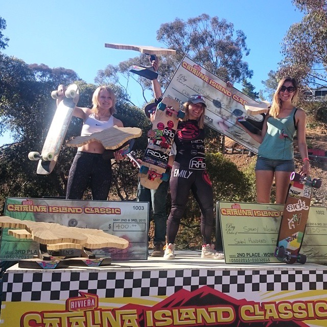 Womens podium from The Catalina Island Classic 2015!! Emily @emilylongboards first, Marie @spokywoky second,Victoria @vwaddington_skates third and Alicia @fillbackside fourth. Epic racing ladies! #catalinaislandclassic #girlsthatshred #longboardgirlscrew