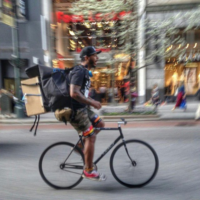 If you need help doing a wheelie, try loading up like @trackordienyc #fixiefamous #fixedgear #nyc