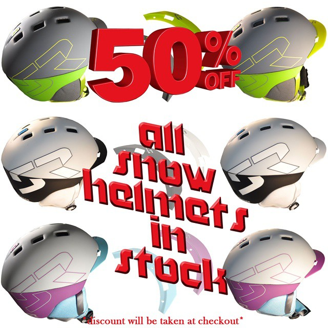 Here is a little deal for you.  Either half off a single snow helmet or buy one get one free!  Regardless, comes out to half off all of our snow helmets left in stock.  Pick yours up and get stoked for next season! #bogo #deals #discounts