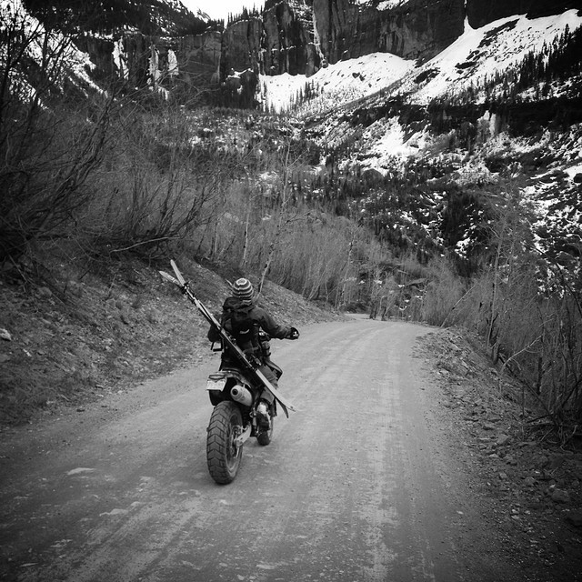 The motorcyle-cornskiing diaries... @prussell8750 catches his lady @susieq8750 coming back from skiing No Name Peak - 13,500' in Telluride. #backcountry #skiing #spring #dpsskis #motorcyle #Colorado