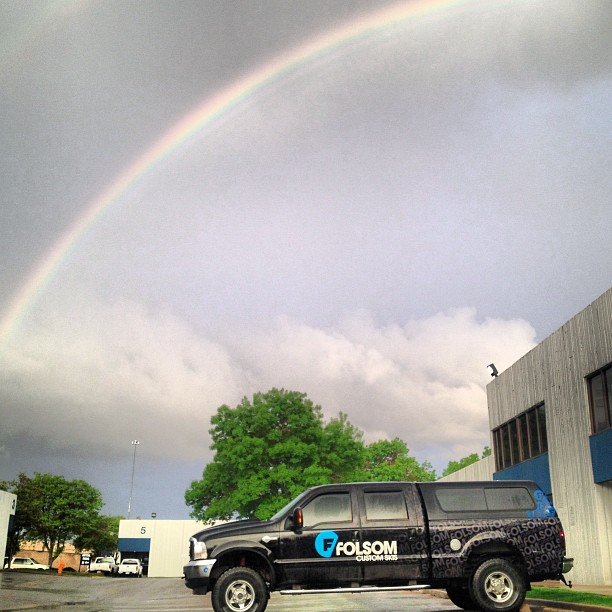 Big trucks and #rainbows are how we like to end the day. #madeintheusa #truckin