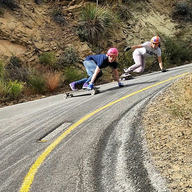 @palaxa and @carmen_sutra getting rowdy in Malibu during their recent travels. Yes! #girlsthatshred #longboardgirlscrew