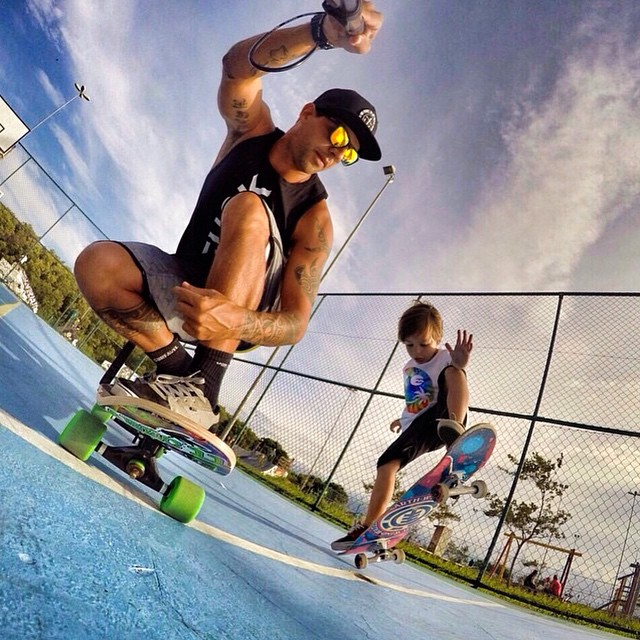 Ian learns how to be a pro like his dad in Brazil! #EnjoyTheRide • If you want some shades tap the link in our bio to shop! Kameleonz.com