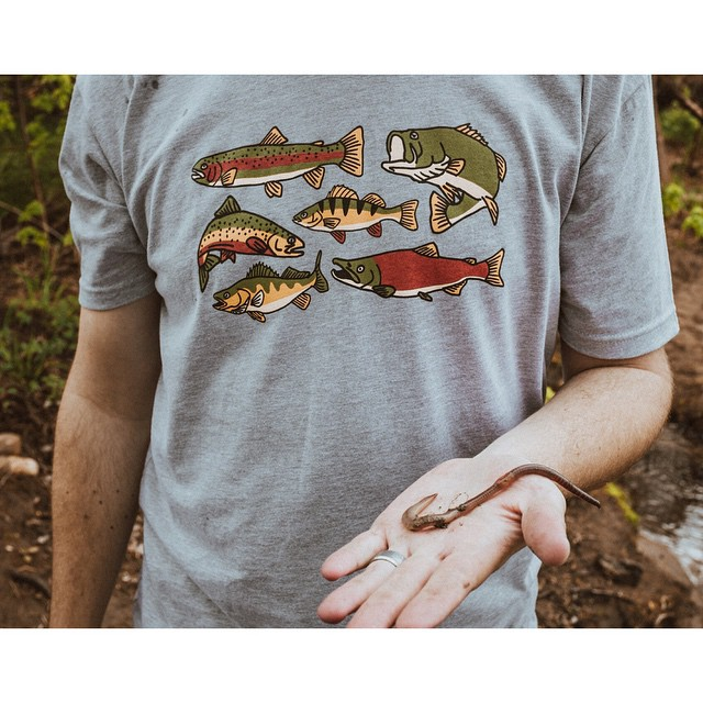Our new Native tee pays homage to some of the underwater natives of Colorado. They're hand printed in The Rockies on a soft cotton and polyester blend and are now available on our website! // #everydayequipment #pinebrand #keepemwet...