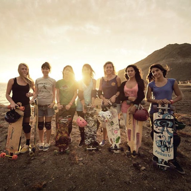 Throw back to the first day of shooting Endless Roads!  What an awesome adventure ladies ❤️ To watch the full movie again go to longboargirlscrew.com  @juanrayos photo.  #longboardgirlscrew #endlessroads #girlswhoshred #skatelikeagirl #amandapowell...