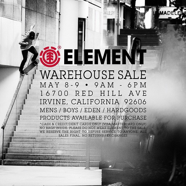 Come out to our warehouse sale this Friday-Saturday in Irvine CA for tons of deals on product, and for a chance to win some free gear! #elementwarehousesale