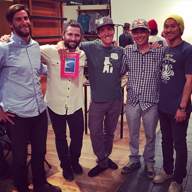 Talkstory at it's finest tonight with Gerry Lopez at the @patagoniasf store. We picked up his new book ' Surf is where you find it 'and so should you ! Life lessons abound in these pages