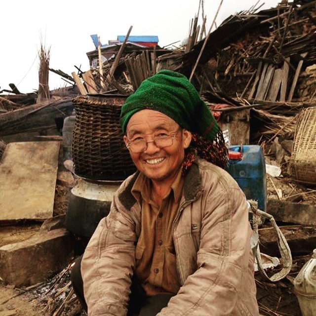 We just dropped 100 tarps, blankets and rice in Singla, Gorkha District. This man just started rebuilding his home and never stopped smiling. The Nepali people are truly the most resilient, warmhearted you will ever meet.