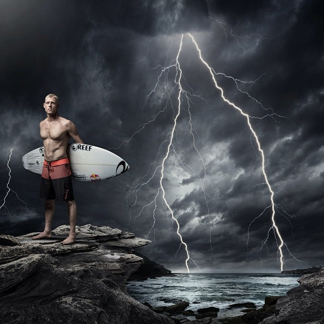@mfanno braves the Melbourne weather. #surf #mickfanning