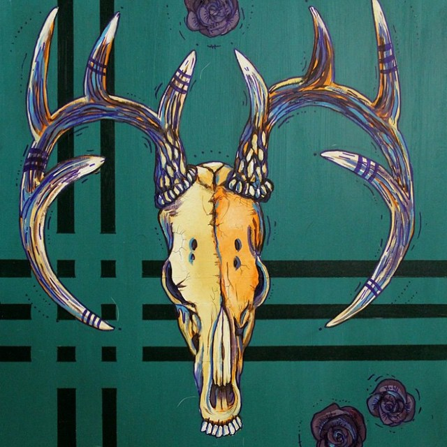 New art from @kyehalpin! Come check out the opening of Bones, Antlers, Skulls tonight at Daly Projects gallery in Jackson Hole! #Avalon7 #kellyhalpinart #art