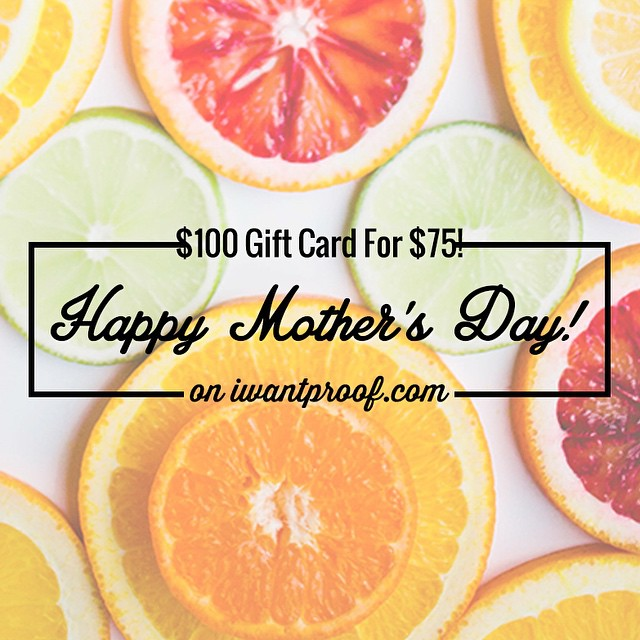Running a little late getting your Mother's Day gift? Don't worry, we won't tell her.  Get a $100 Gift Card for $75 and we'll send you a file to print out so you won't be empty handed this Sunday!  Gift cards are delivered by email and contain...