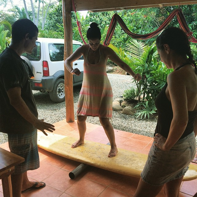 Nothing like a makeshift #IndoBoard to help with balance practice! #LearnToSurf #SurfSchool #SurfSaturday