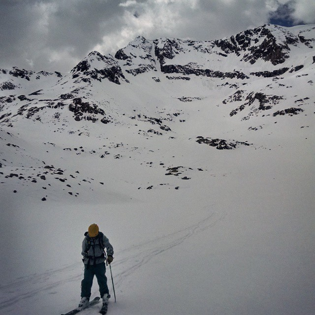 Last week skiing out of the Moonshine Couloir off the top of #MtArkansas. #steepanddeep