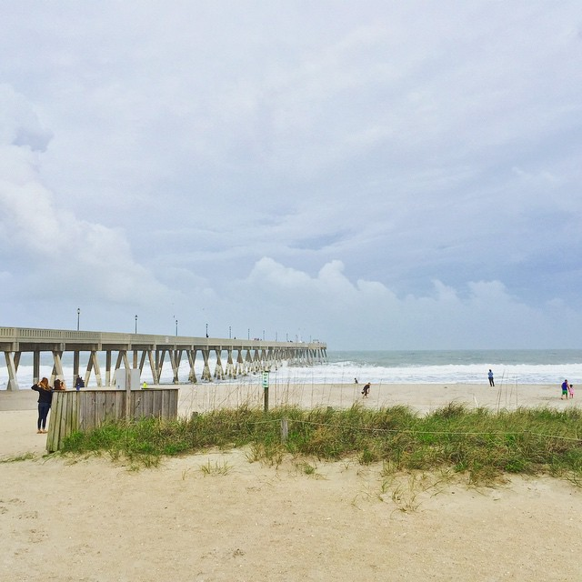 Great view today, storms brewing off the coast. #beach #pier