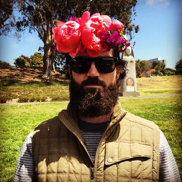 If you're going to San Francisco, make sure to wear some flowers in your hair #flowercrown #beard #sanfrancisco #portrait