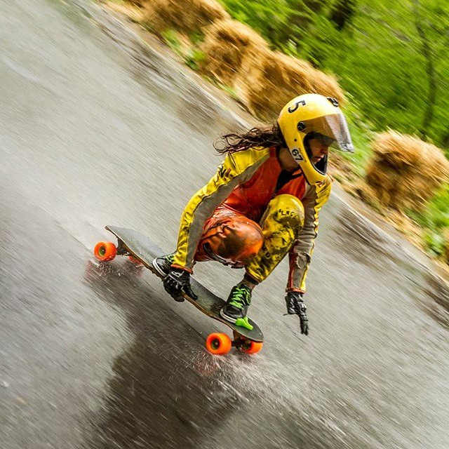 Team rider @lydebegue in the wet a couple weekends ago!  She made the women's podium.  Rocking the #restlessnkd!  #restlessboards